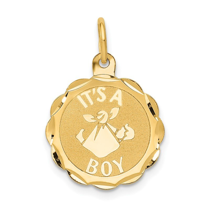 JC Sipe Essentials 14k Polished IT'S A BOY Scalloped Disc Charm