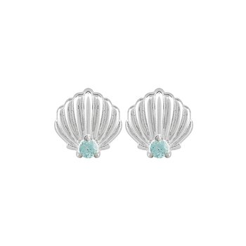 SPARKLING SHELL STUD EARRINGS - Frosty Mint Swarovski Zirconia