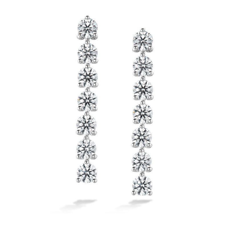 Hearts on Fire 2.45 ctw. Cascade Stiletto Earring 7 Stone