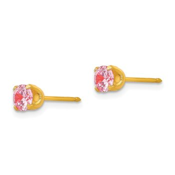 Inverness 14k 5mm Pink CZ Post Earrings