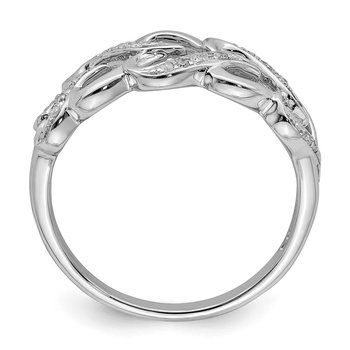 Sterling Silver Rhodium Plated Diamond Heart Ring