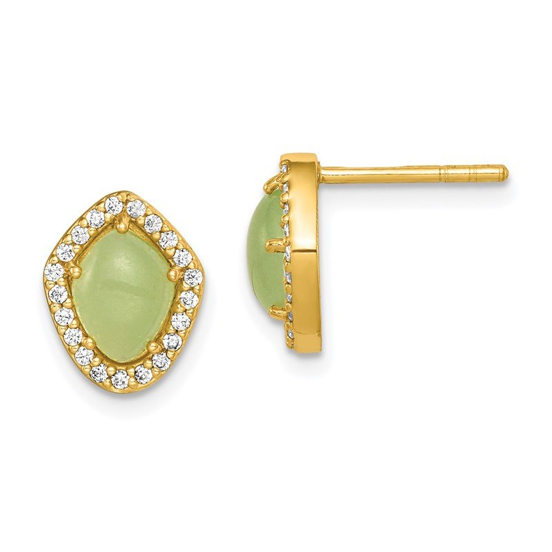 Quality Gold Sterling Silver Gold-Tone Green Stone & Clear CZ Earrings
