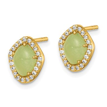 Sterling Silver Gold-Tone Green Stone & Clear CZ Earrings