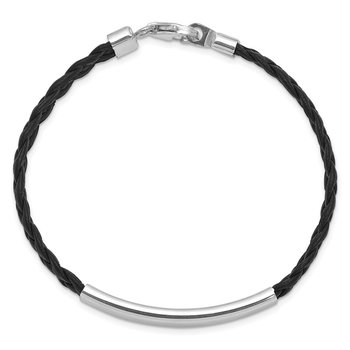 Sterling Silver Rhodium-plated Black Braided Leather Bracelet