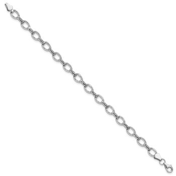 14k White Gold 7in Diamond-cut Polished Fancy Bracelet