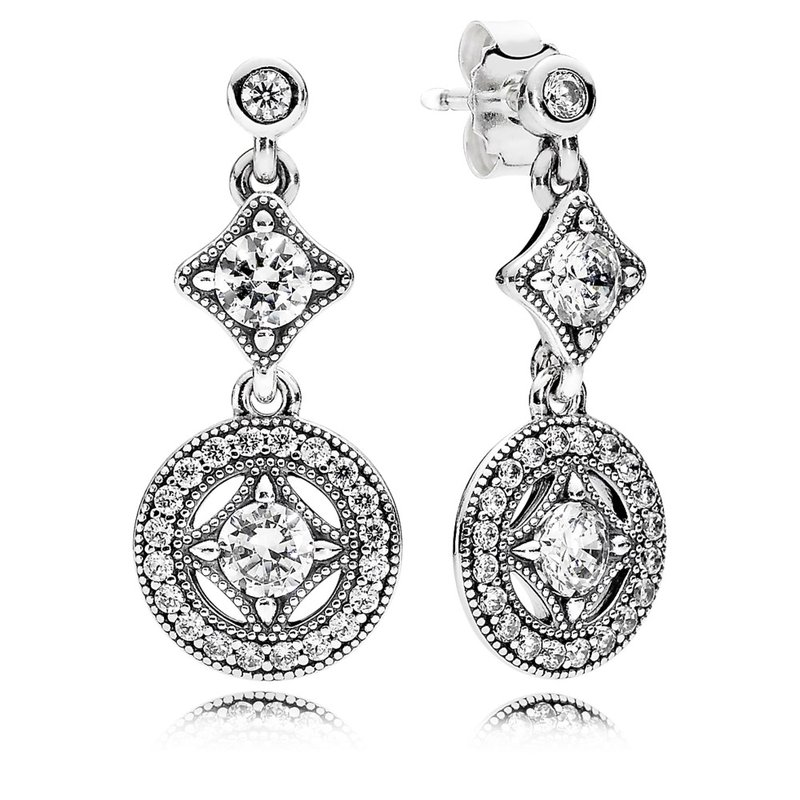 26df5f1b8 David Arlen Jewelers: PANDORA Vintage Allure Drop Earrings, Clear CZ