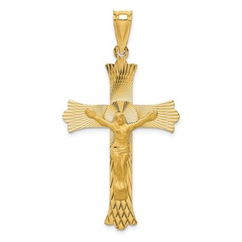 14k Polished Satin and D/C Crucifix Pendant
