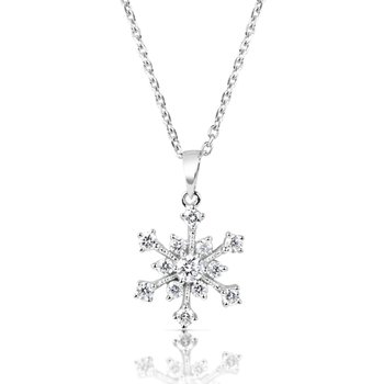 White Gold Snowflake Diamond Pendant