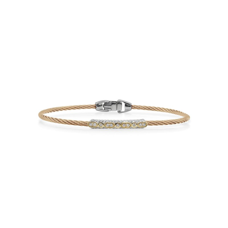 ALOR Carnation Cable Delicate Twist Bracelet with 18kt Yellow Gold & Diamonds