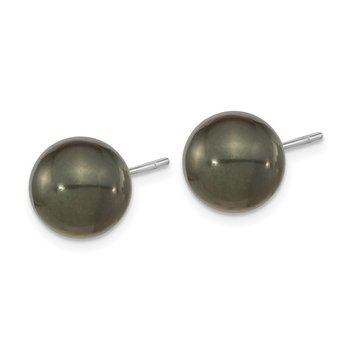 14k WG 10-11mm Black Round Saltwater Cultured Tahitian Pearl Post Earrings