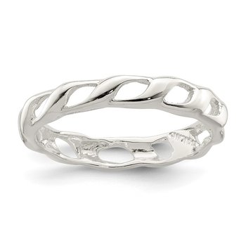 Sterling Silver Polished Twist Ring
