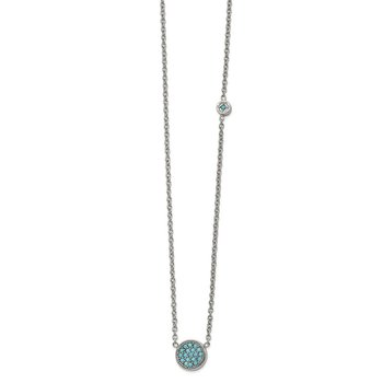 Stainless Steel Polished Reconstructed Turquoise w/2in ext Necklace