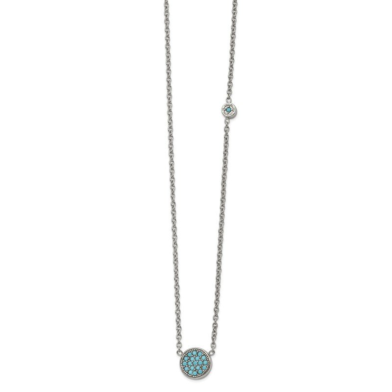 Chisel Stainless Steel Polished Reconstructed Turquoise w/2in ext Necklace