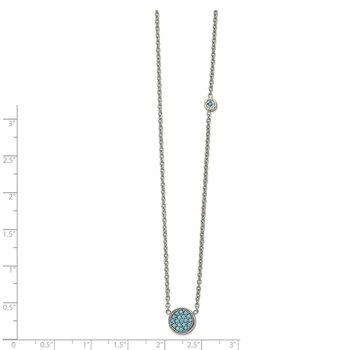 Stainless Steel Polished Reconstructed Turquoise w/ 2in ext. Necklace