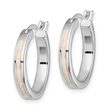 Sterling Silver Rhodium-plated White Created Opal Hoop Earrings