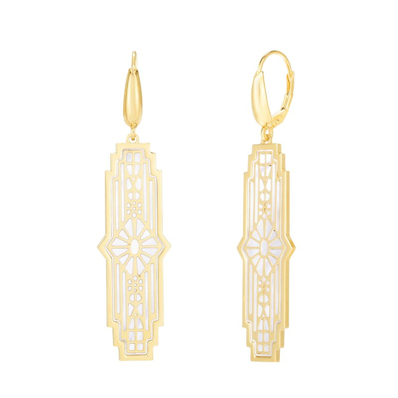 Royal Chain 14K Gold Art Deco MOP Inlay Earrings