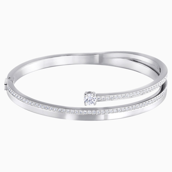 Fresh Bangle, White, Rhodium plated
