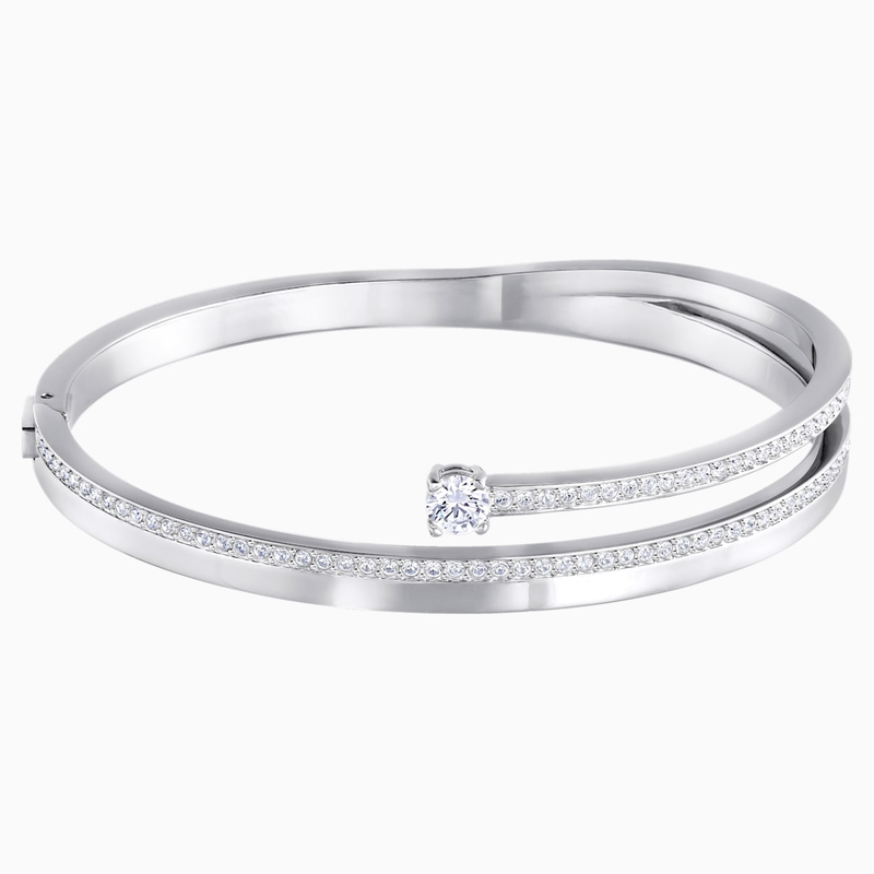 Swarovski Fresh Bangle, White, Rhodium plated