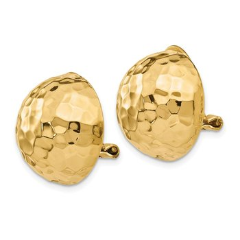 14k Omega Clip 18mm Hammered Non-pierced Earrings