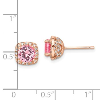 Sterling Silver Rose-tone Square Pink Crystal Center/CZ Post Earrings