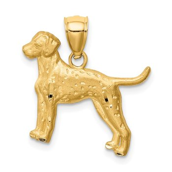 14K Yellow Diamond-cut Dalmatian Pendant