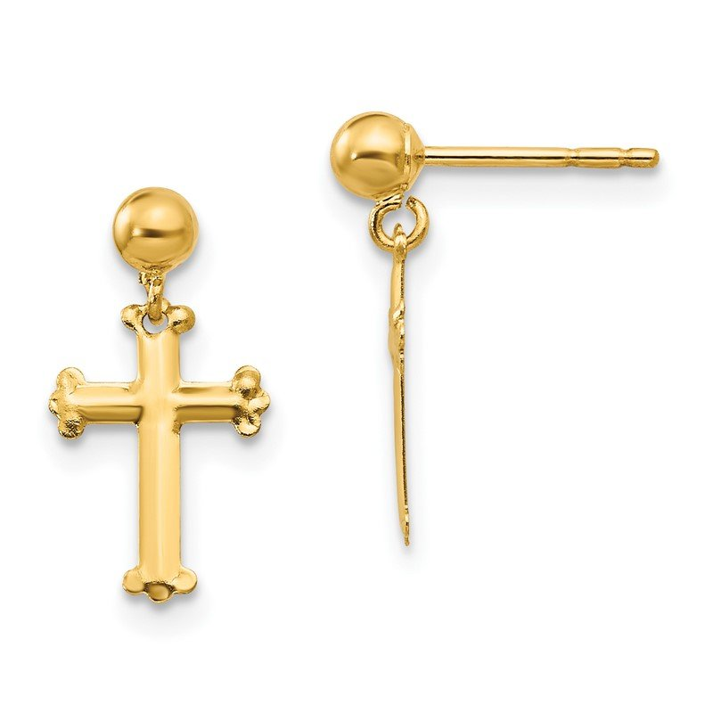 Quality Gold 14k Madi K Cross Dangle Post Earrings