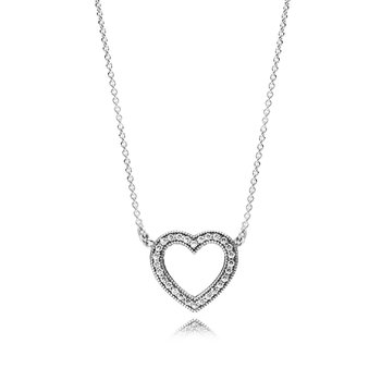 Loving Hearts Of Pandora Necklace, Clear Cz