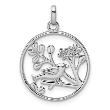 Sterling Silver Rhodium-plated Polished Bird and Flowers Pendant