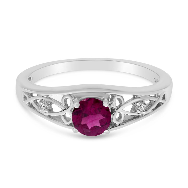 Color Merchants 14k White Gold Round Rhodolite Garnet And Diamond Ring