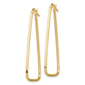 14k 1.5mm Polished Large Triangle Dangle Hoop Earrings