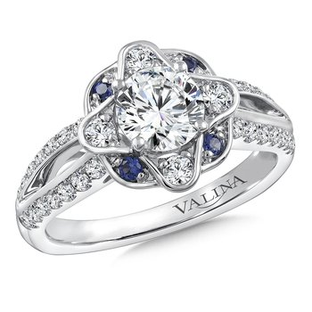 Diamond & Blue Sapphire Engagement Ring Mounting in 14K White/Rose Gold (.42 ct. tw.)