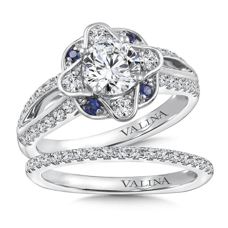Valina Diamond & Blue Sapphire Engagement Ring Mounting in 14K White/Rose Gold (.42 ct. tw.)