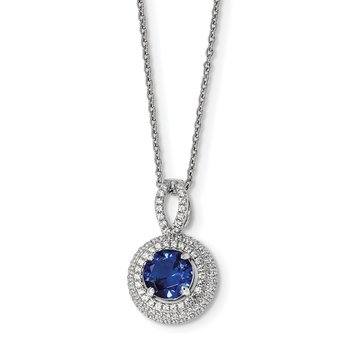 SS Rhodium-Plated CZ Brilliant Embers Circle Necklace