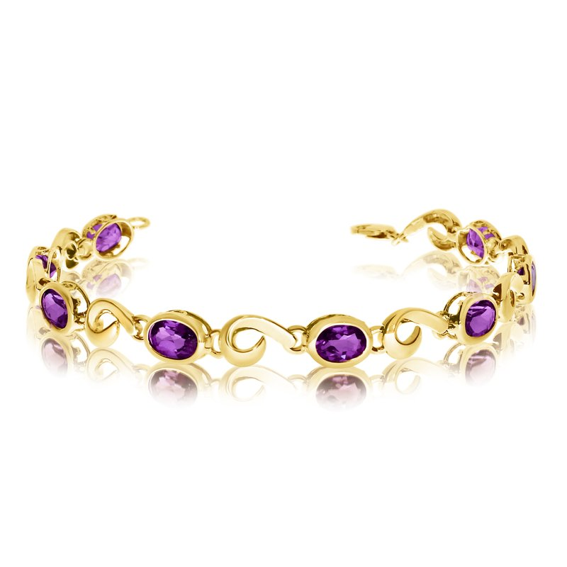 Color Merchants 14K Yellow Gold Oval Amethyst Bracelet