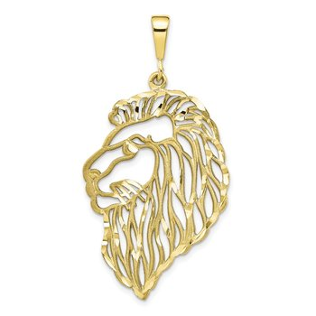 10k Solid Diamond-cut Lions Head Charm