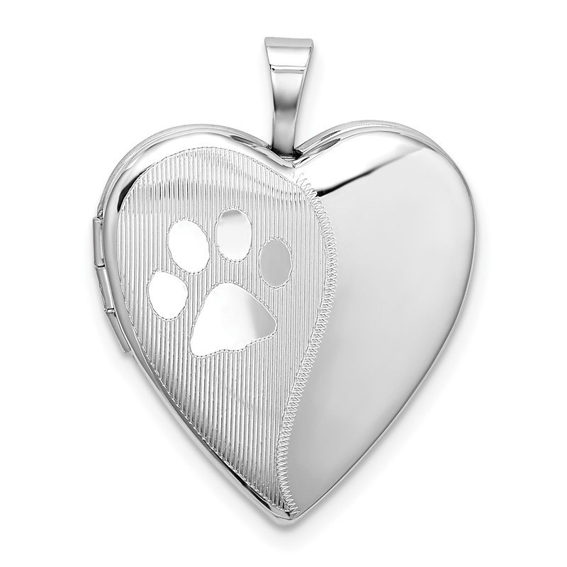 Sterling Silver Rhodium-plated Satin & Polished Paw Prints Heart Locket