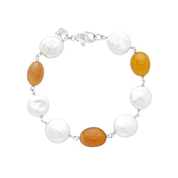 Honora Sterling Silver 12-14mm White Coin Freshwater Cultured Pearls with Orange Chalcedonyx Bracelet