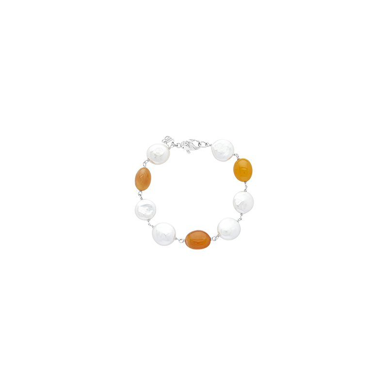 Honora Honora Sterling Silver 12-14mm White Coin Freshwater Cultured Pearls with Orange Chalcedonyx Bracelet