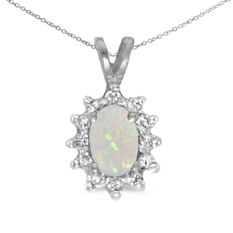 Color Merchants 14k White Gold Oval Opal And Diamond Pendant