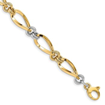 14K Two-tone Polished w/ .5 in ext. Fancy Link Bracelet