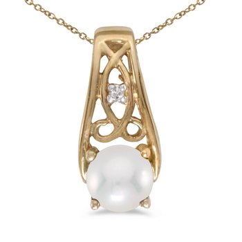 14k Yellow Gold Freshwater Cultured Pearl And Diamond Pendant