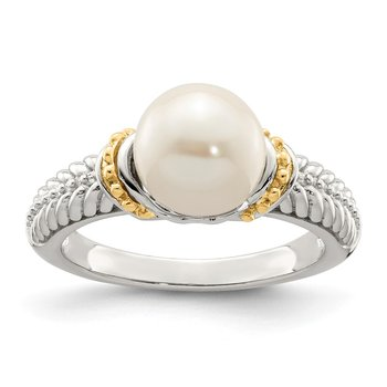 Sterling Silver w/ 14K Accent 8-9mm FWC Pearl Ring