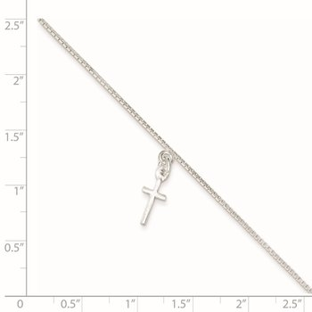 Sterling Silver 10 in Solid Polished Cross on Box Chain Anklet