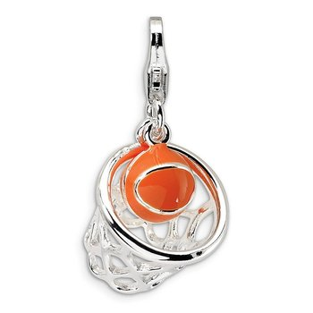 Sterling Silver Amore La Vita Rhd-pl 3-D Enameled Basketball in Net Charm