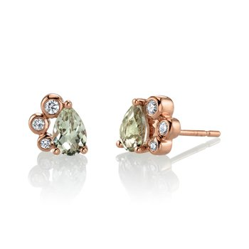 MARS 27257 Stud Earrings, 0.12 Dia, 0.77 Green Am