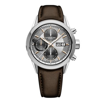 Men's Automatic Chronograph Watch, 42mm steel on leather strap, silver dial