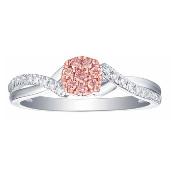 Smiling Rocks 0.28Ct Lab Grown Pink Color Diamond with G-H/VS1 Diamond Engagement Ring