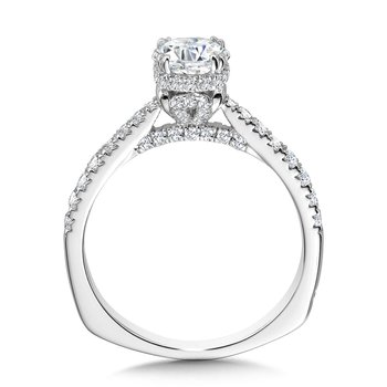 Double-Prong Straight Diamond Engagement Ring