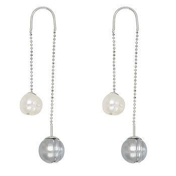 Grey Ombre Ringed Potato Fresh Water Cultured Pearl Treader Earrings