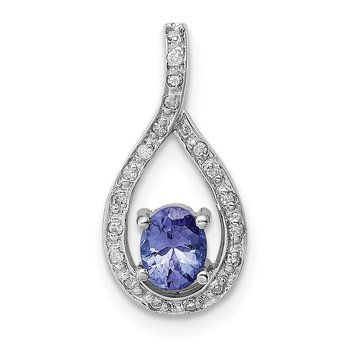 Sterling Silver Rhodium-plated Tanzanite & Diamond Pendant